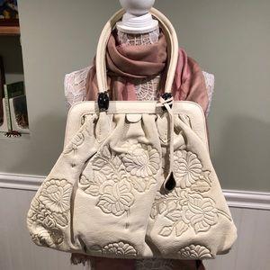 DBolino Hand-tooled Glove Leather Bag, Cream Dream
